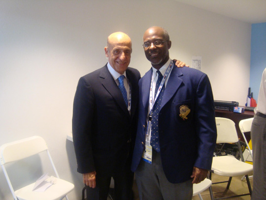 Newly elected President of CCCAN poses with The FINA President, Dr Julio Maglione, at the Central American & Caribbean Games (CAC) July 2010 in Mayaguez, Puerto Rico.